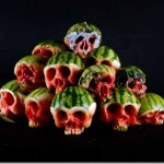Scary skull sculptures made from fruit and vegetable