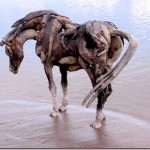 Beautiful horse sculptures made out of driftwood