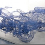 Three-dimensional steel wire sculptures