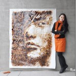 Painting made with coffee cup stains