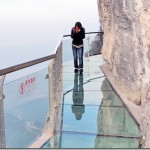 Scary and exciting sense just walking over the glass walkway in China