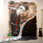Painting on stacked books