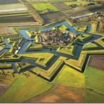 Beautiful uniquely star-shaped Fort in the village of Bourtange, Groningen, Netherlands