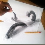 Amazing three-dimensional pencil drawings