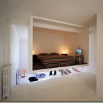 Innovative private bedroom mounted to the ceiling