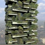 Eco-friendly apartment buildings in Milan with hundreds of real trees planted on balconies