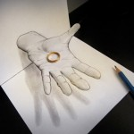 Pencil drawing with great 3D illusion effect