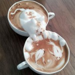 Adorable three-dimensional coffee foam creatures