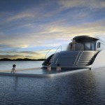 Unqiue yacht concept with a swimming pool