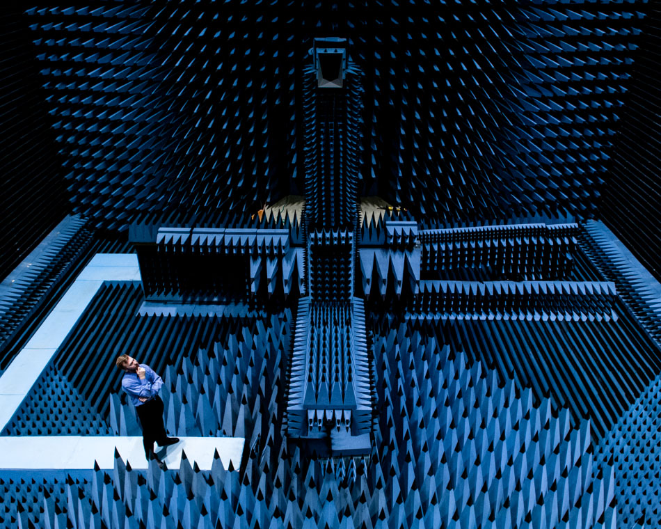anechoic chamber Radiated emissions, immunity and wireless testing are performed in state-of–the-art semi and full anechoic chambers, built according to commercial and military.