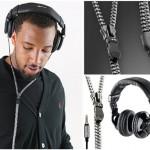 Creative headphones with tangle free zipper