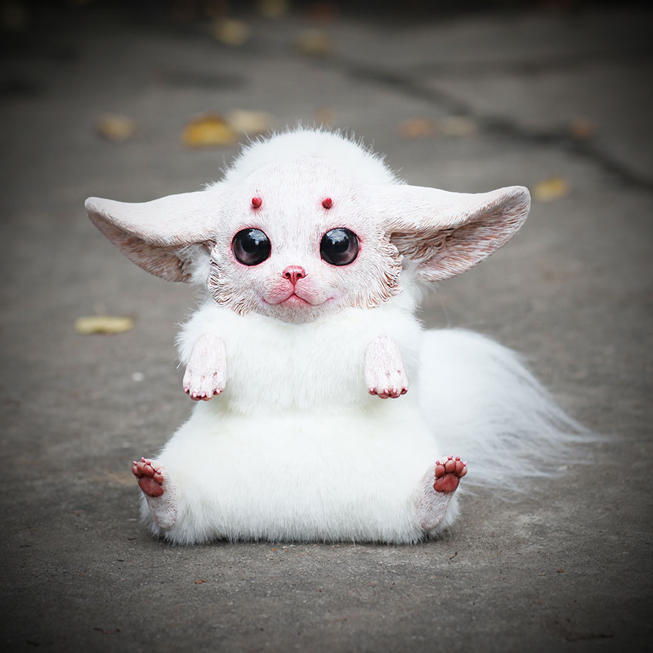 dolls creatures fantasy anime cute animal creepy sculptures monster animals creature adorable weird doll vuing baby fluffy russian animation painting