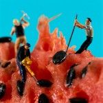 Funny mini dramas created out of figurines and food