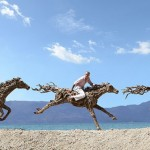 Aesthetic horse sculptures created out of driftwood by James Doran-Webb