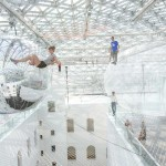 Surreal art installation like a gigantic spider web over 25 meters in the air