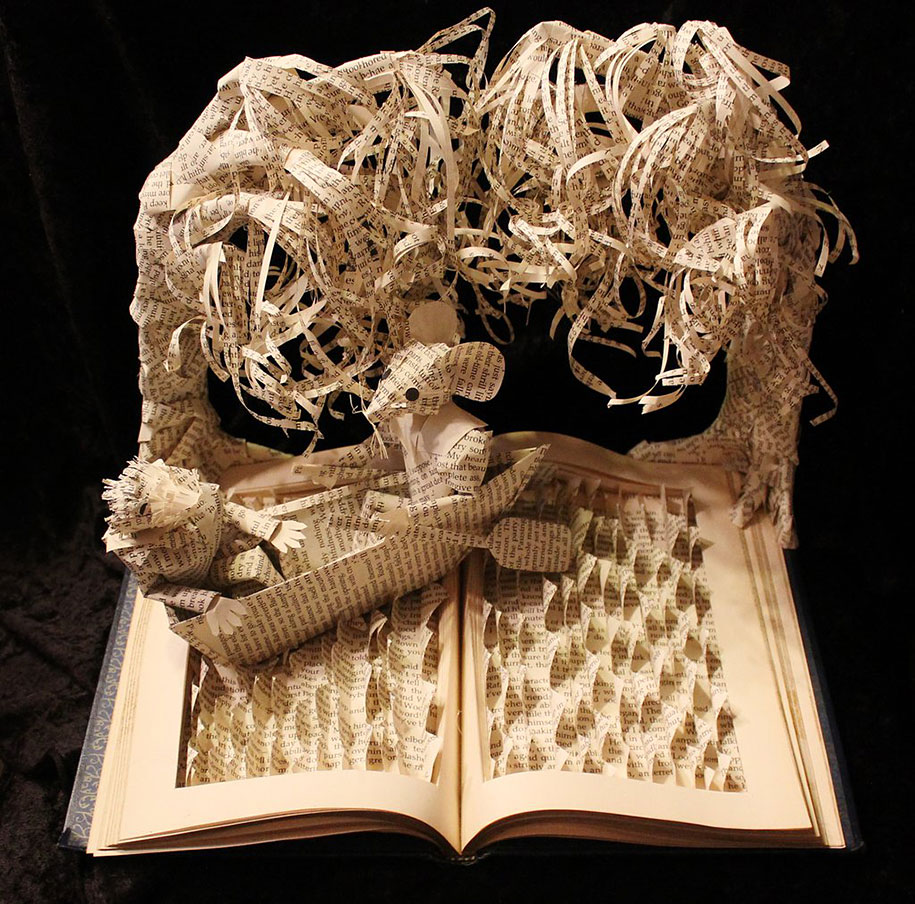 Paper sculptures depicting wondrous worlds from books