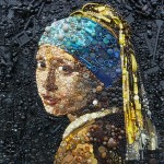 Eye-catching contemporary art created out of toys, jewelry, buttons, beads, etc.