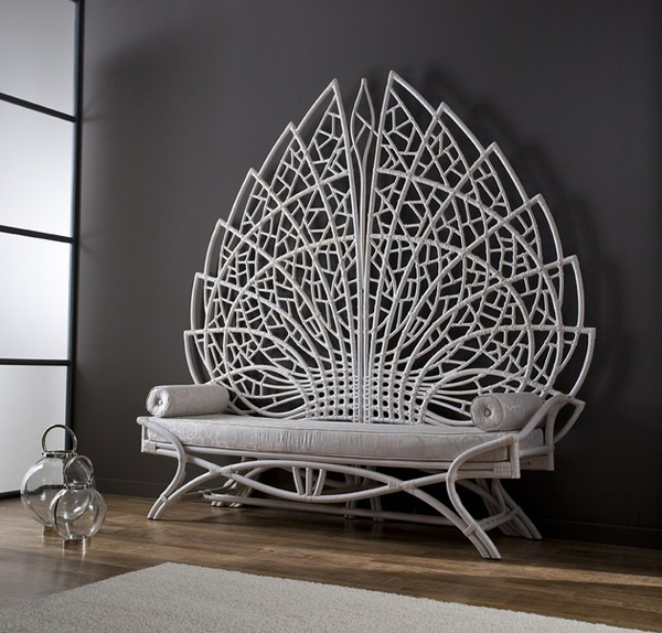 Grand Acanthus Rattan Bench Looks Like Throne In Ancient