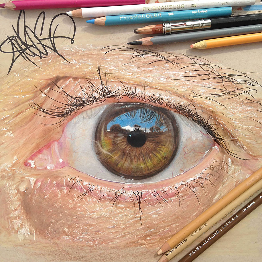 Colored Pencil Art Hyperrealistic Eyes By Yearold Artist - Artist creates amazing hyper realistic 3d drawings