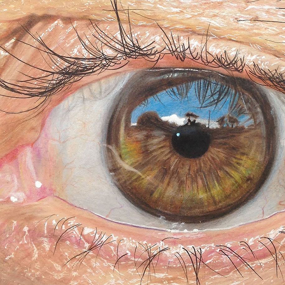 How to draw nature sketches amazingly simple for beginners - Colored Pencil Art Hyper Realistic Eyes By 19 Year Old