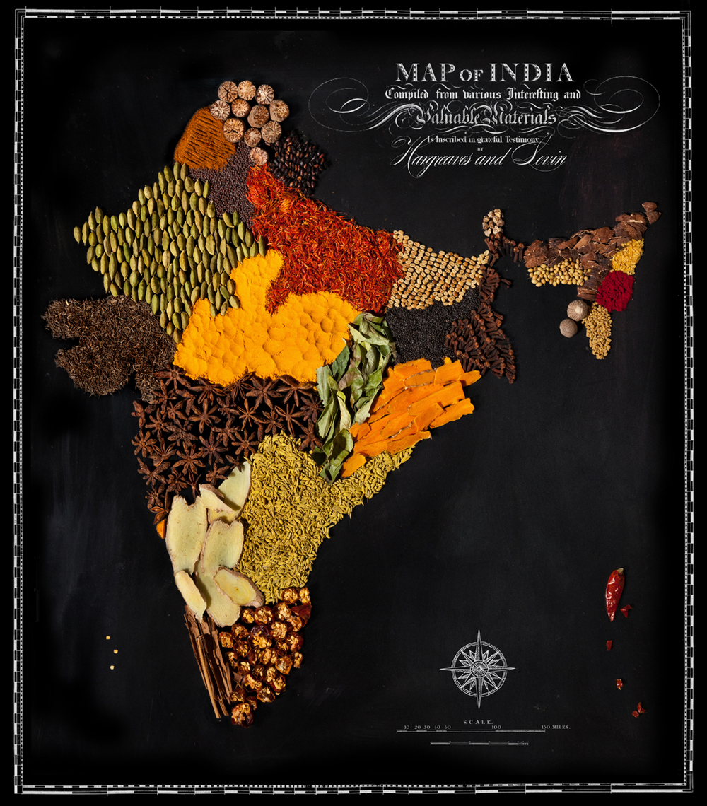 The food maps representing the most famous foods of for Art of indian cuisine