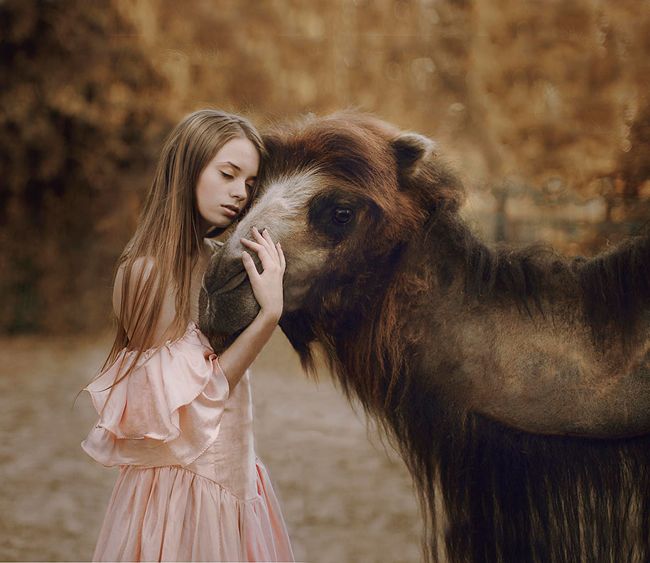 Wild Animals And Elegant Girls Together In Dream-like
