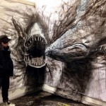Eye-popping dark three-dimensional life-sized drawings of animals
