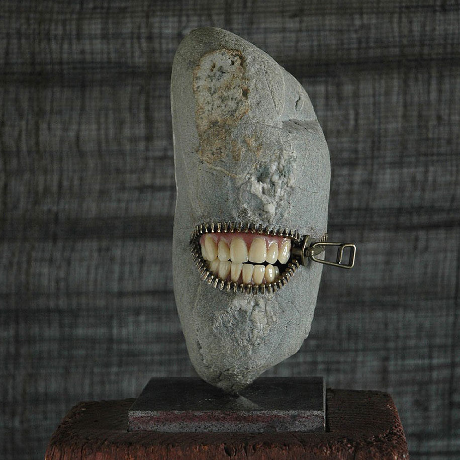 Whimsical and surreal stone sculptures by japanese artist