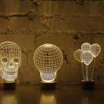 2D LED lamp with 3D visual effect that tricks your eye and challenges your mind