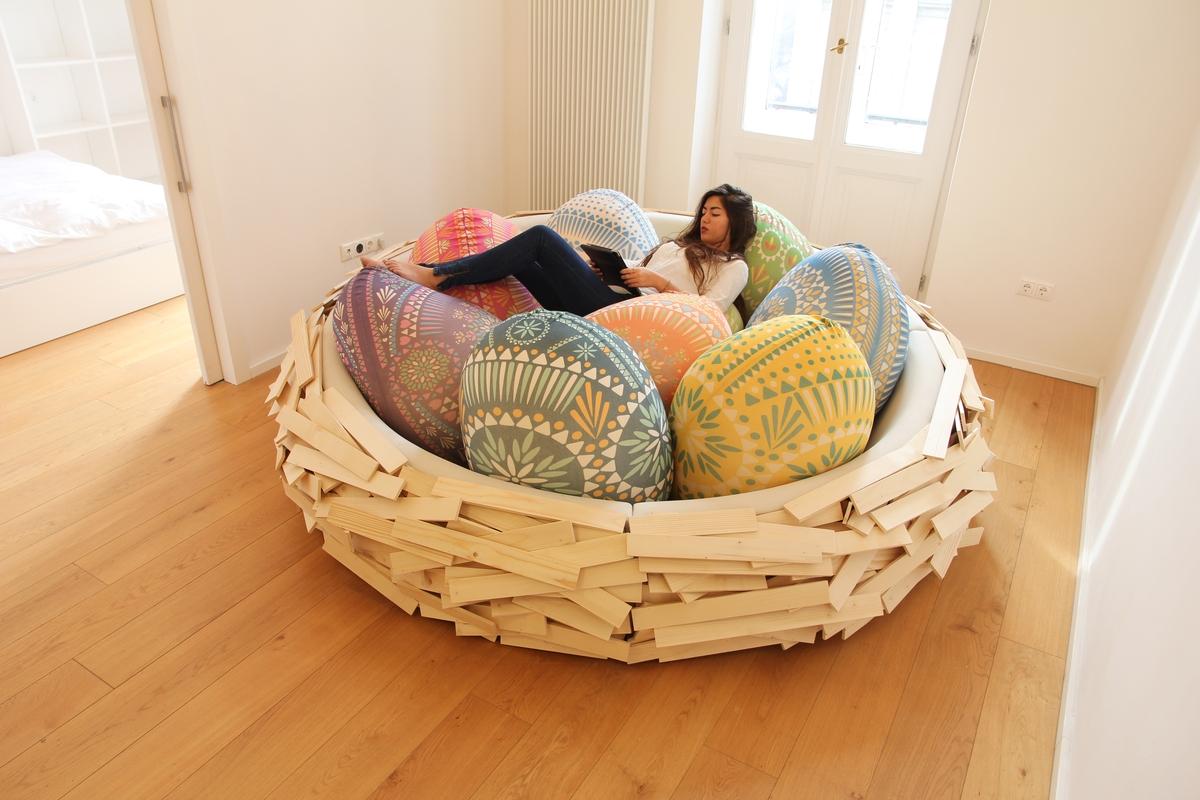 ... Eye Catching Comfortable Sofa Bed Modern Design Birds  ...