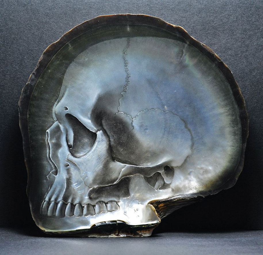 Skull bas reliefs in mother of pearl shells vuing