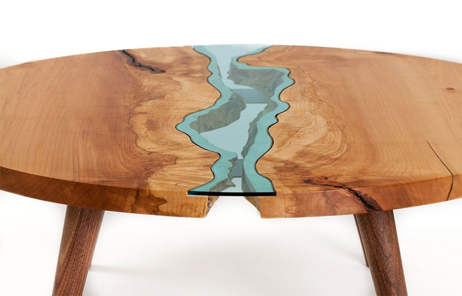 Beautiful Wooden Tables With Glass Rivers And Lakes