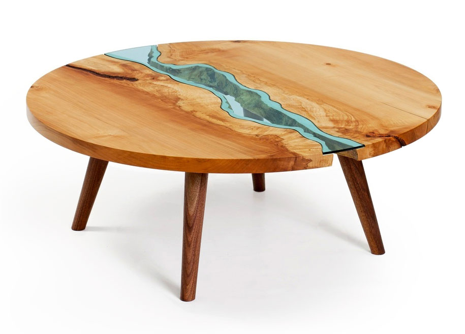 Beautiful wooden tables with glass rivers and lakes | Vuing.com