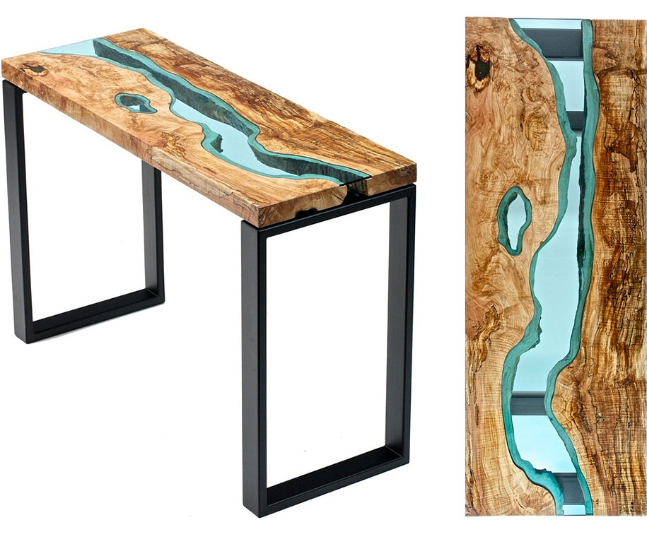 ... Unique Furniture Design Wooden Table Glass River Lake ...