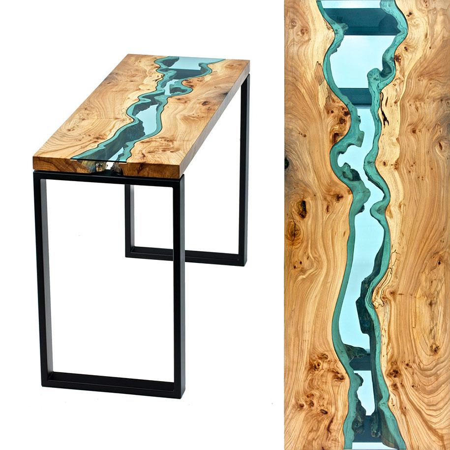 ... Unique Furniture Design Wooden Table Glass River Lake ...