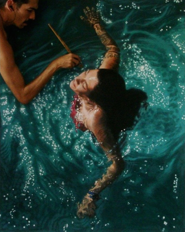 Incredibly-Realistic-Lifelike-Paintings-swimming-people-water (12)
