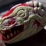 Italian sculptor Valeriano Fatica turns a fresh watermelon into a realistic dragon head