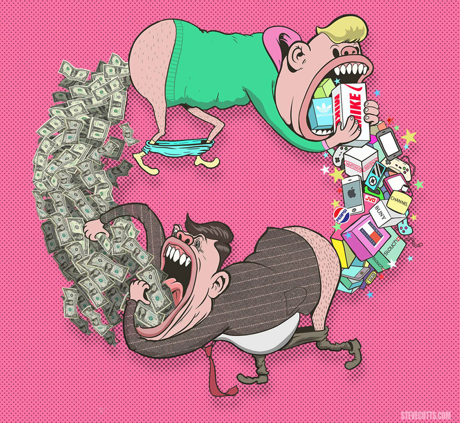 Truth About Our Society And Life Represented By Steve Cutts - 16 satirical illustrations that offer a witty outlook on modern life