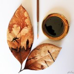 Beautiful leaf paintings created with the artist's morning coffee