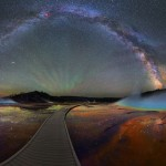 The milky way over night sky of Yellowstone Park