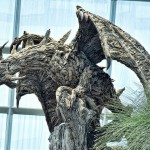 Huge dragon sculpture made out of driftwood