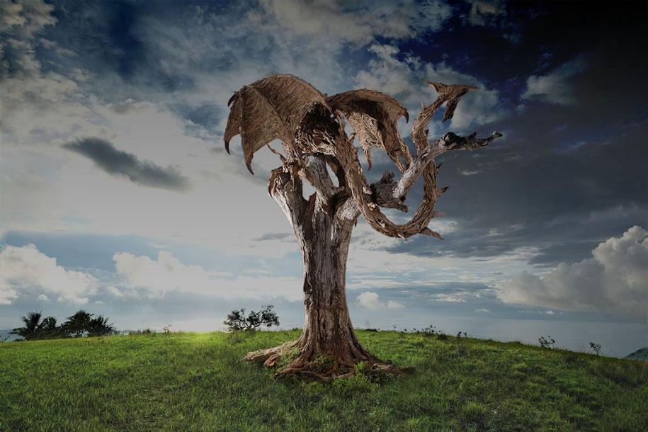 Huge dragon sculpture made out of driftwood – Vuing.com