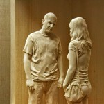 Realistically hand-carved wood figures by Italian artist Peter Demetz