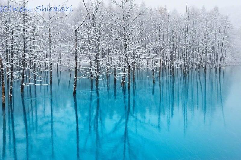 stunning-beautiful-Blue-Pond-snow-japan (3)