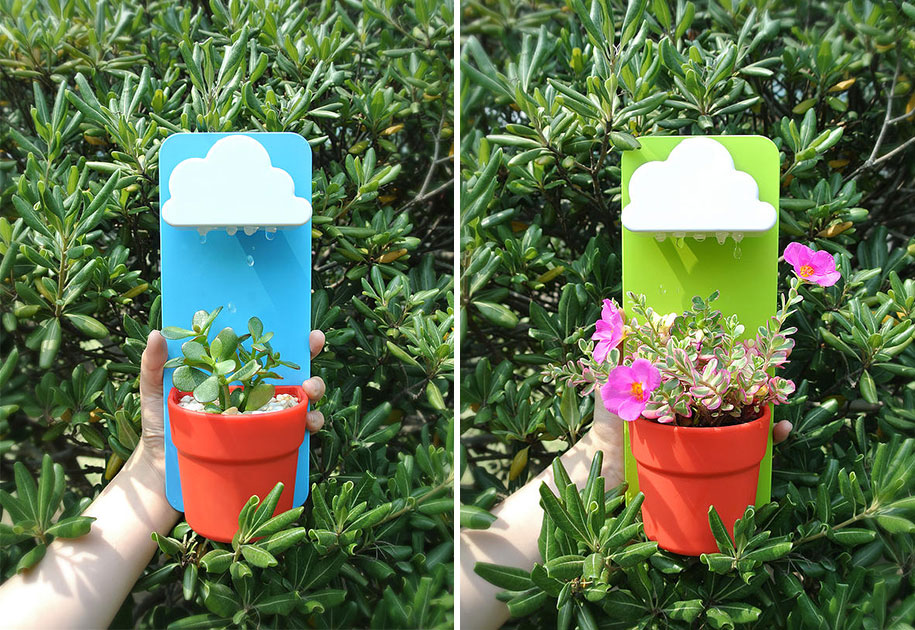 ... Wall Mount Indoor Rainy Pot Cloud Raindrops Planter ...