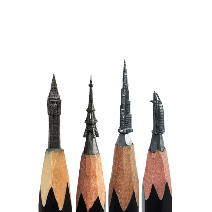 fragile and tiny work of art miniature sculptures of pencil tip