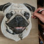Vividly photorealistic drawings on simple boards of wood created by self-taught artist