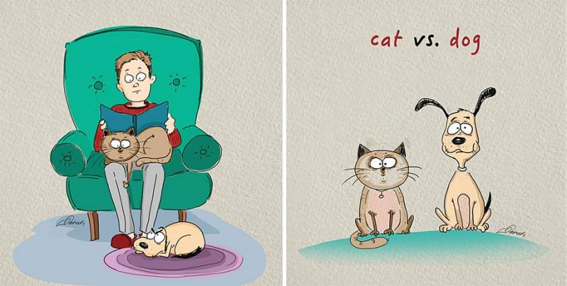 funny-comics-differences-cat-vs-dog-animals-pets-illustrations (5)