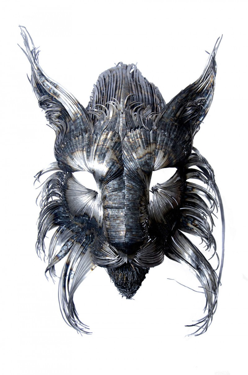 Animal-Masks-Hammered-steel-Scrap-Metal-sculptures (6)