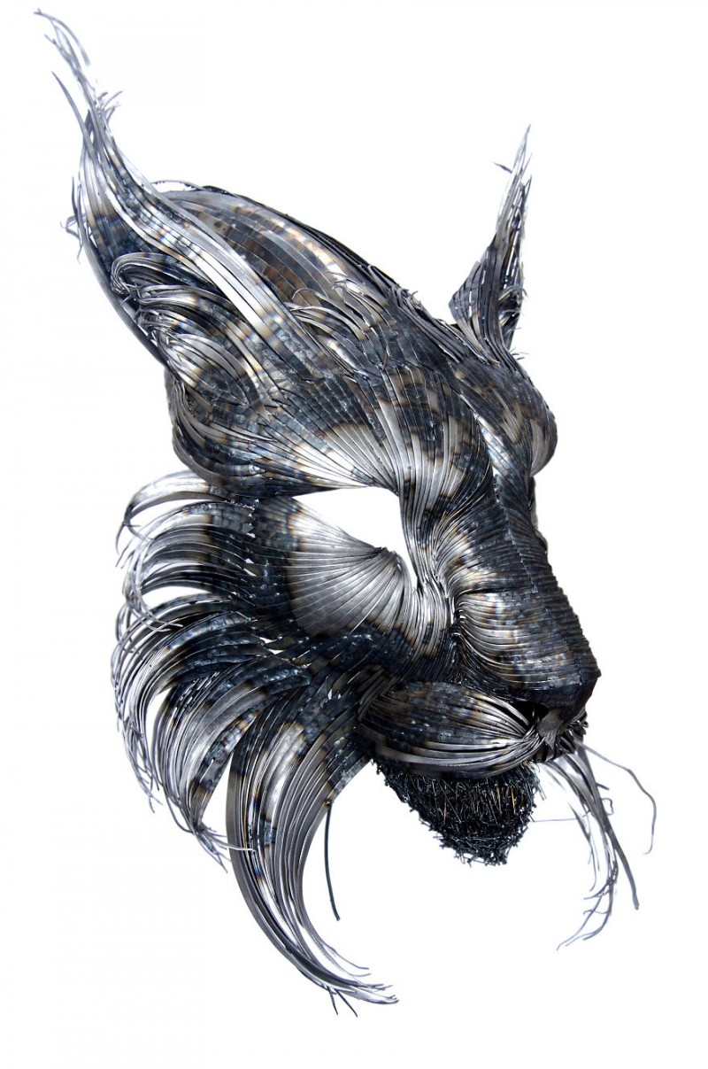 Animal-Masks-Hammered-steel-Scrap-Metal-sculptures